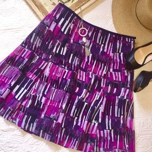 Ann Taylor vibrant print a line skirt